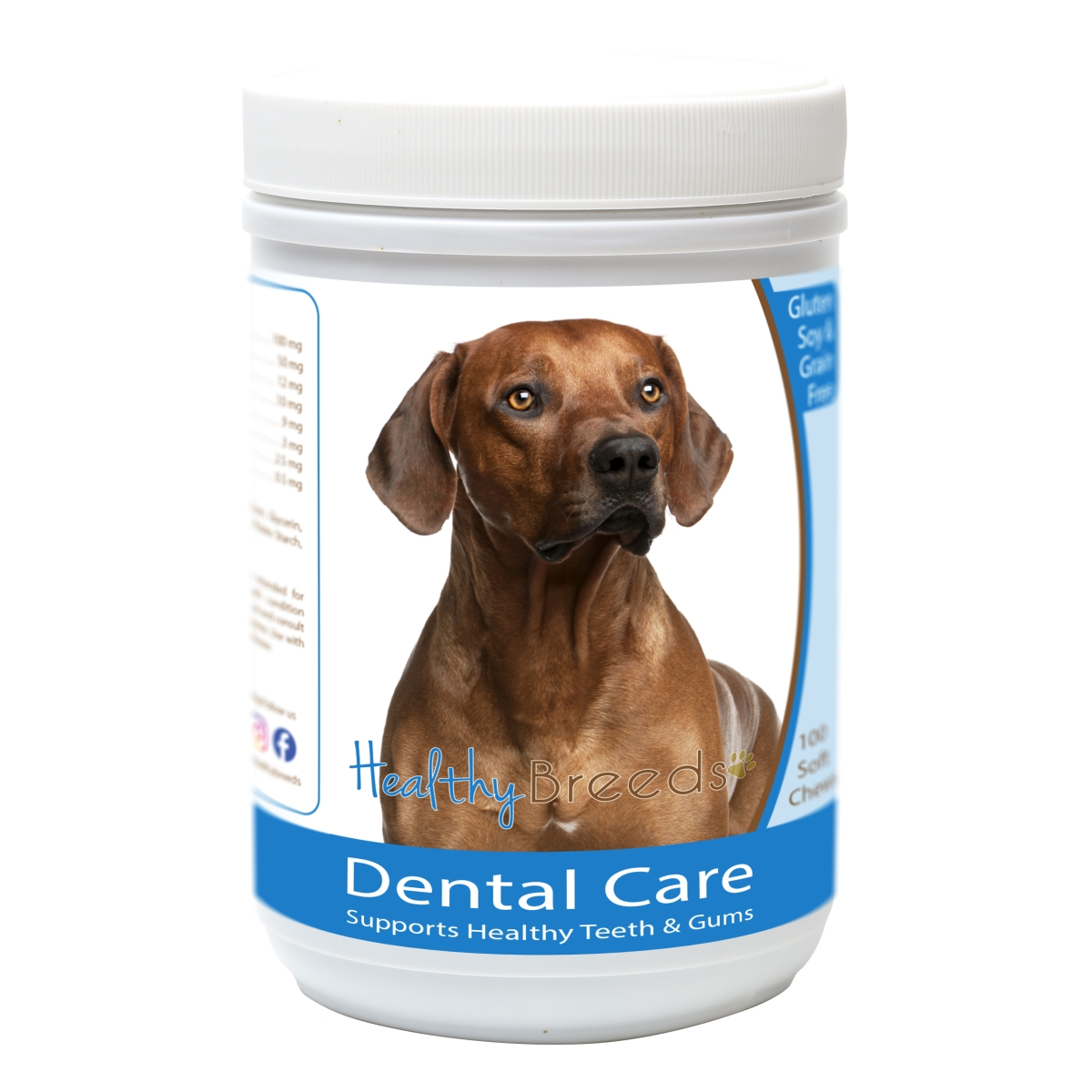 Healthy Breeds 840235163411 Rhodesian Ridgeback Breath Care Soft Chews for Dogs - 60 Count