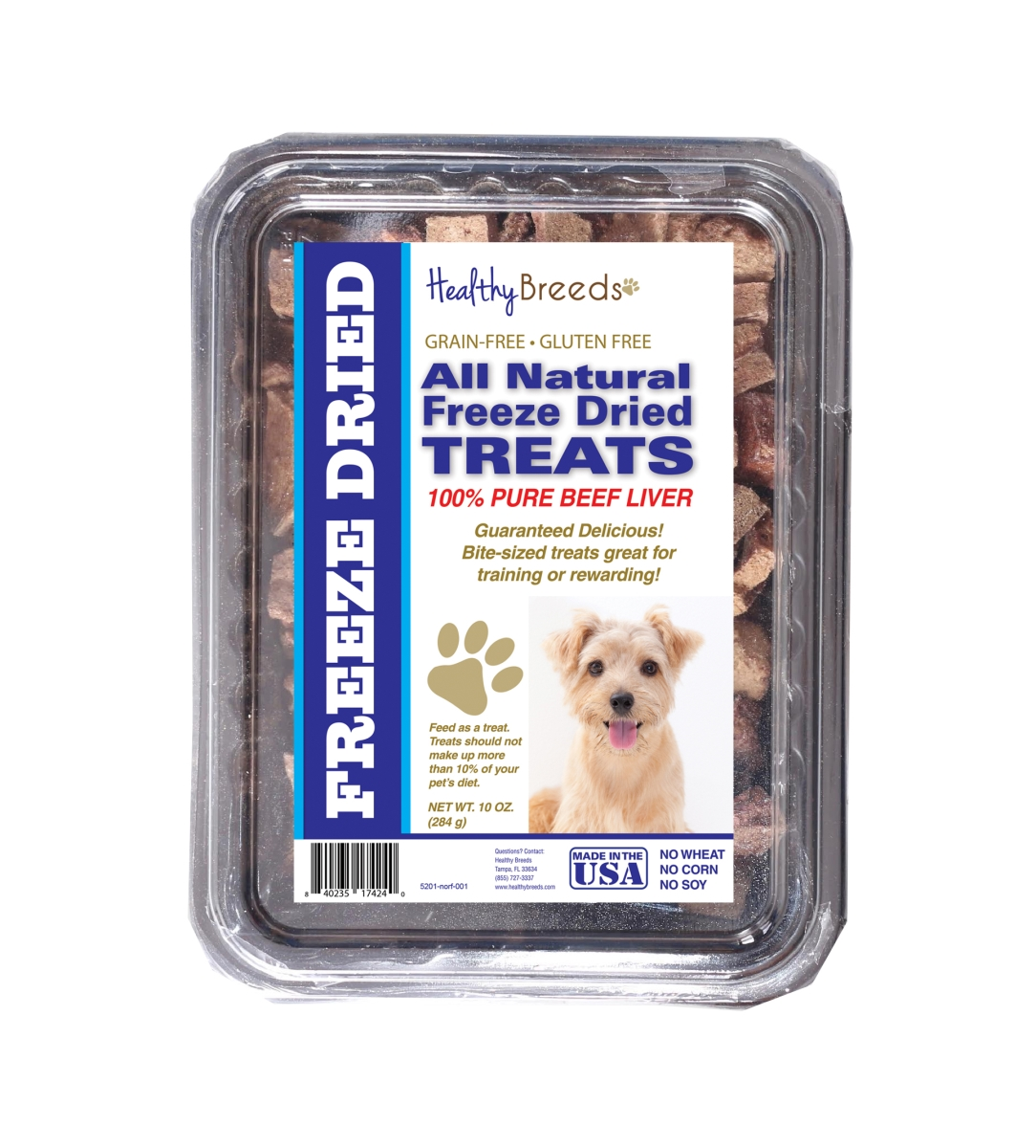 Healthy Breeds 840235174240 10 oz Norfolk Terrier All Natural Freeze Dried Treats Beef Liver