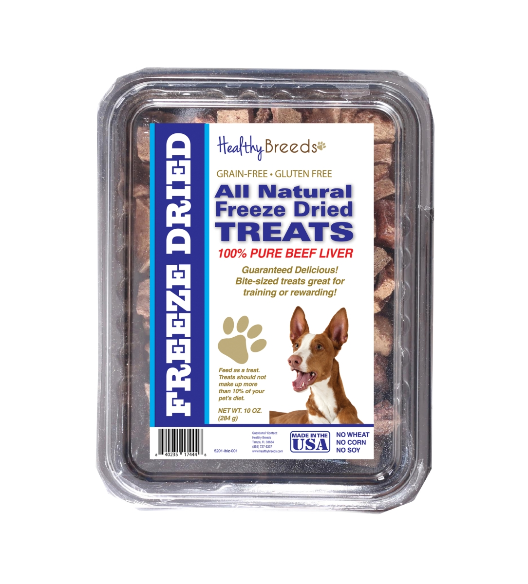 Healthy Breeds 840235174448 10 oz Ibizan Hound All Natural Freeze Dried Treats Beef Liver