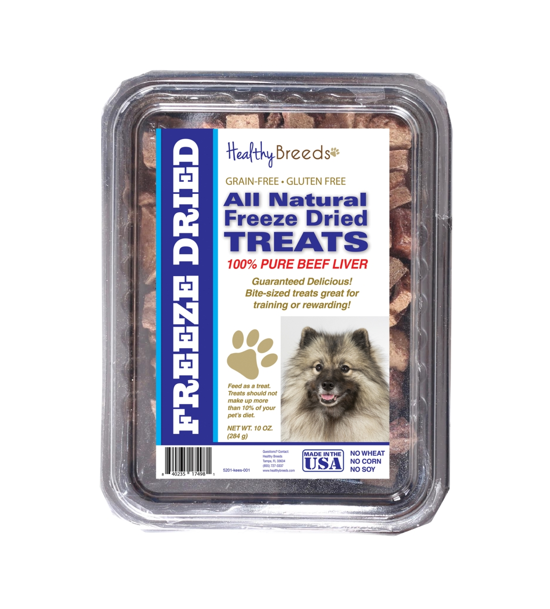 Healthy Breeds 840235174981 10 oz Keeshonden All Natural Freeze Dried Treats Beef Liver