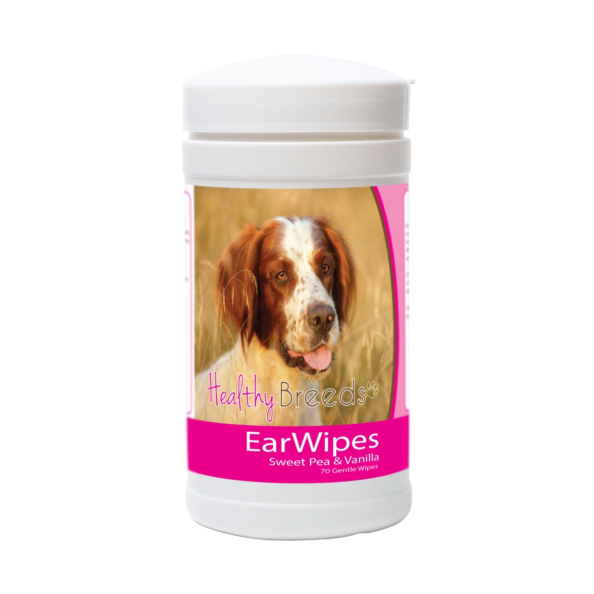 Healthy Breeds 840235175148 Irish Red & White Setter Ear Wipes - 70 Count
