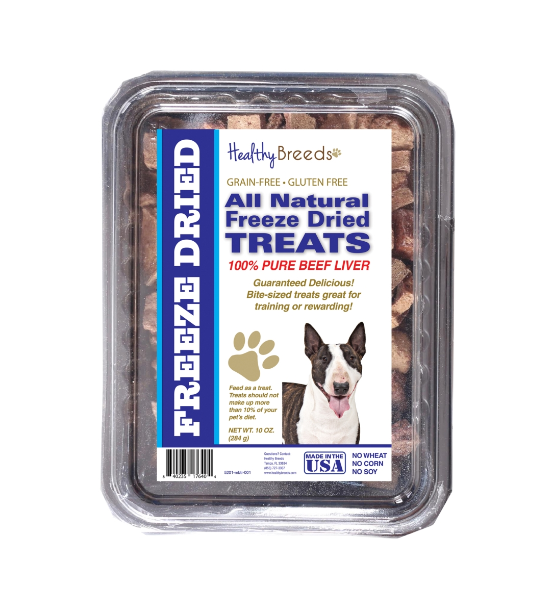 Healthy Breeds 840235176404 10 oz Miniature Bull Terrier All Natural Freeze Dried Treats Beef Liver