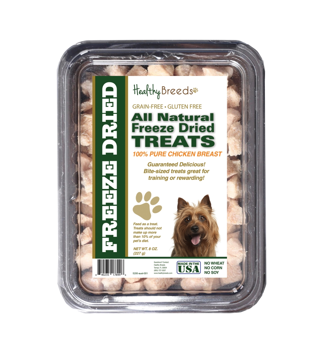 Healthy Breeds 840235178996 8 oz Australian Terrier All Natural Freeze Dried Treats Chicken Breast