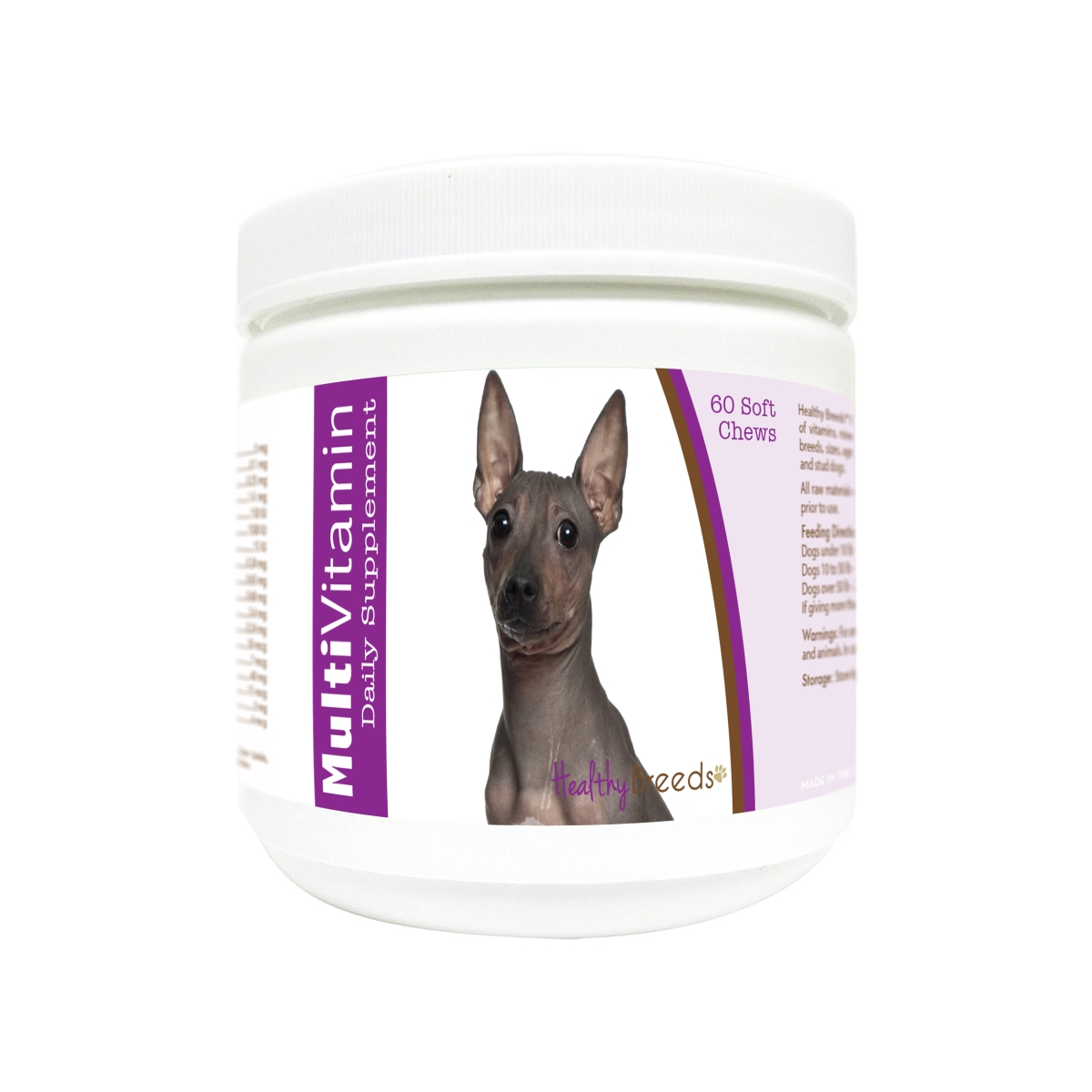 Healthy Breeds 840235181125 American Hairless Terrier Multi-Vitamin Soft Chews - 60 Count