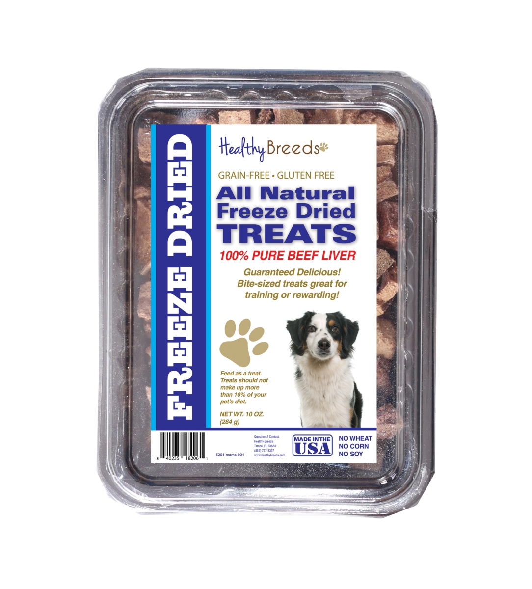 Healthy Breeds 840235182061 10 oz Miniature American Shepherd All Natural Freeze Dried Treats Beef Liver