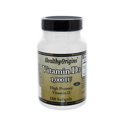 Healthy Origins 1208198 Vitamin D3 1000 IU - 180 softgels