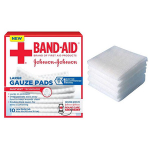 Johnson & Johnson 53111657100 4 x 4 in. Band-Aid First Aid Gauze Pads 10 Count