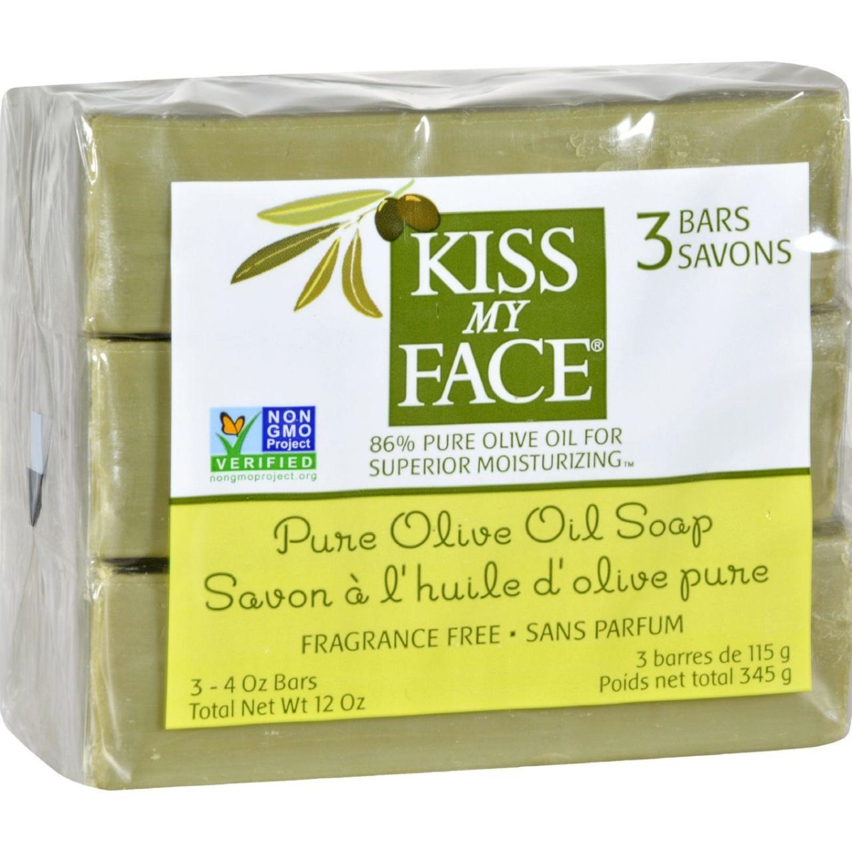Kiss My Face HG1141837 4 oz Pure Olive Oil Moisturizing Soap Pack of 3