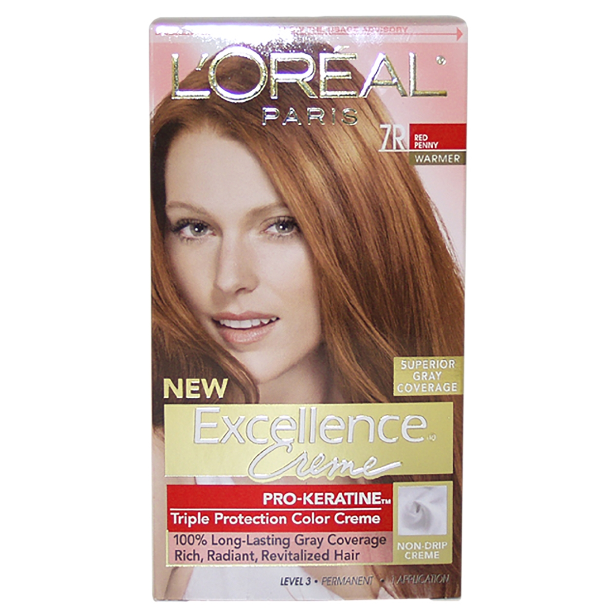 LOreal Paris U-HC-3483 Excellence Creme Pro - Keratine at 7R Red Penny - Warmer 1 Application Hair Color for Unisex