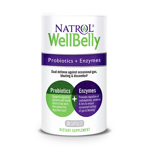 Natrol 318132 Well Belly Probiotic & Enzyme Capsules 30 Piece