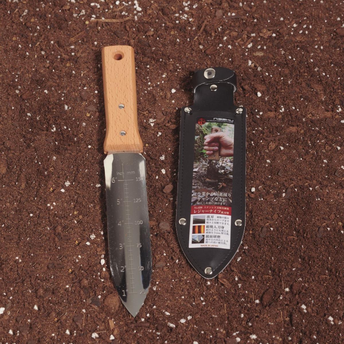 Nisaku NJP650 7.25 in. Blade Hori-Hori Stainless Steel Tomita Weeding Knife