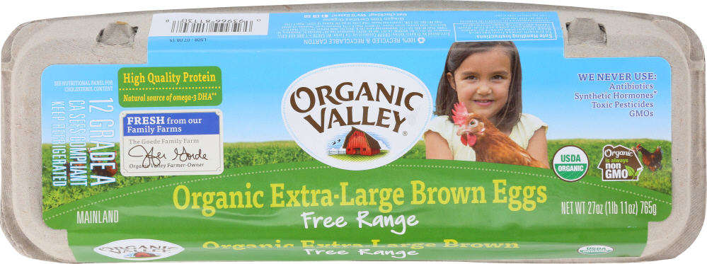 Organic Valley KHFM00704866 Free Range Extra Large Brown Eggs - 1 D ozen