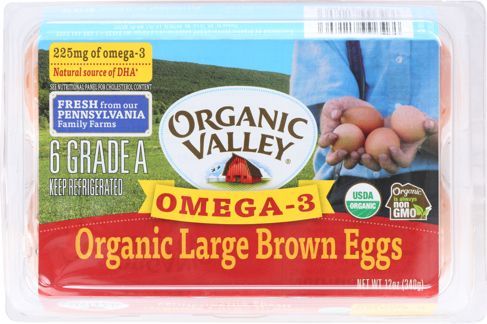 Organic Valley KHFM00751958 Omega 3 Large Brown Eggs - 0.5 D ozen