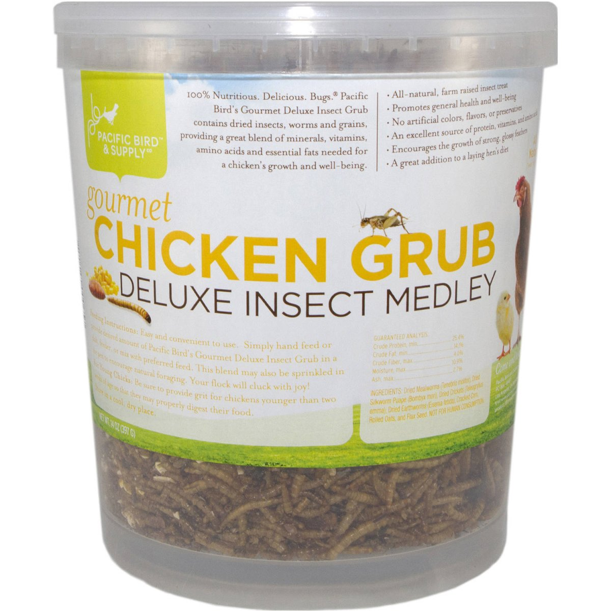 Pacific Bird & Supply PB-0065 14 oz Gourmet Chicken Grub Deluxe Insect Medley
