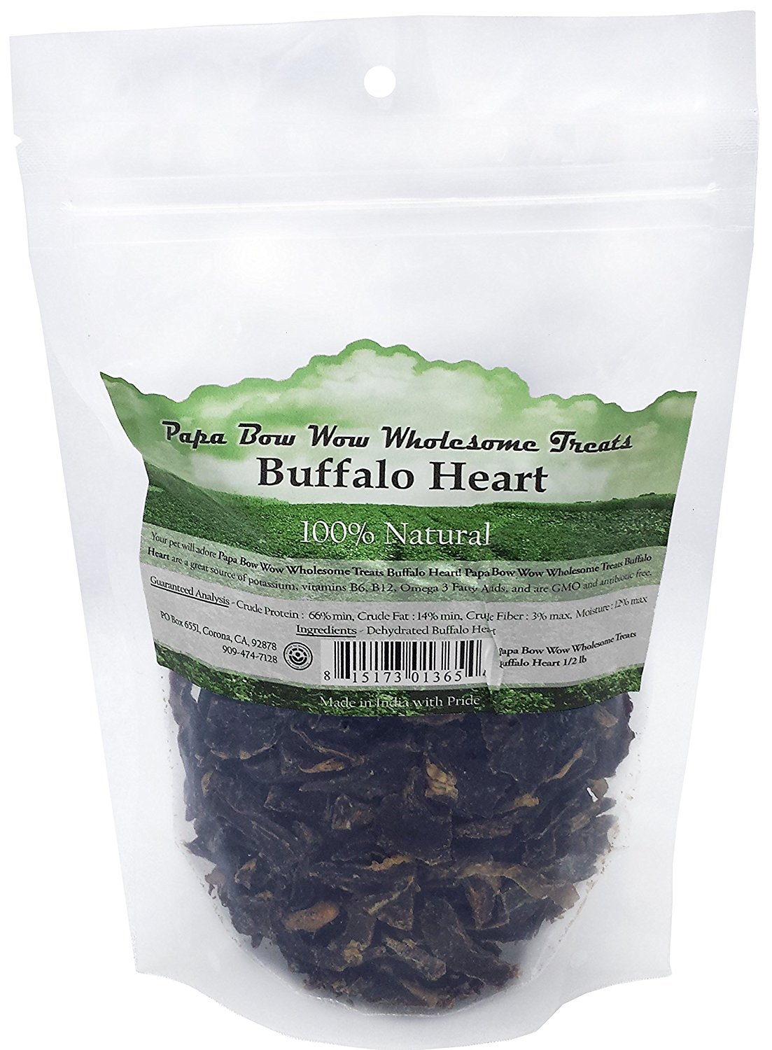 Papa Bow Wow PBW13654 Buffalo Heart Dog Treats - 0.5 lbs
