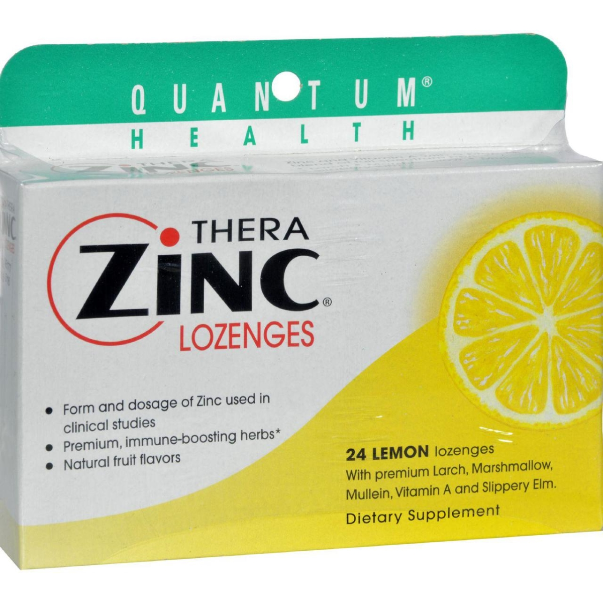 Quantum Research HG0709303 14 mg Quantum Therazinc Cold Season Plus Lozenges Lemon - 24 Lozenges