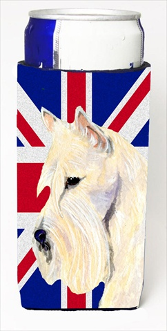 Scottish Terrier Wheaten With English Union Jack British Flag Michelob Ultra bottle sleeves For Slim Cans - 12 Oz.