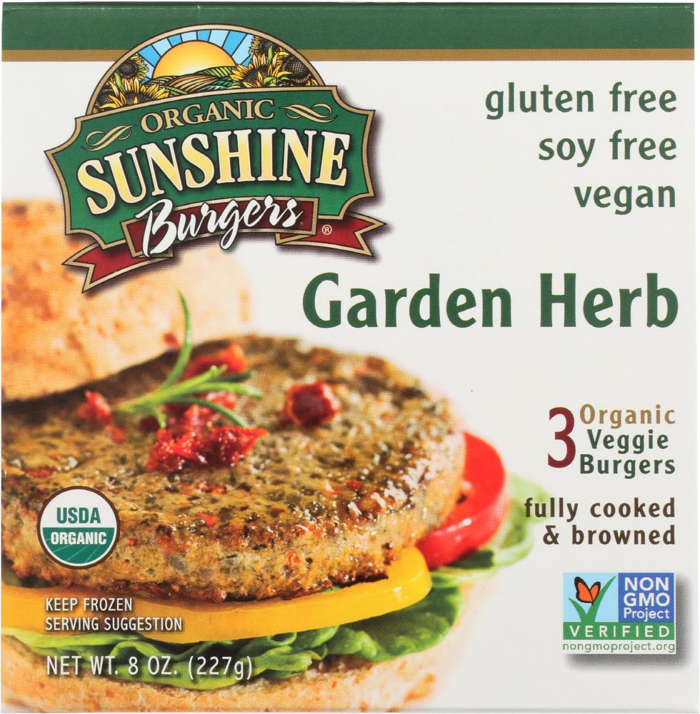 Sunshine Burger KHFM00840314 Organic Garden Herb Veggie Burger - 8 oz