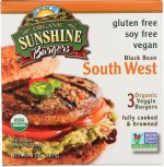 Sunshine Burger KHFM00840330 Organic Black Bean Southwest Veggie Burger - 8 oz