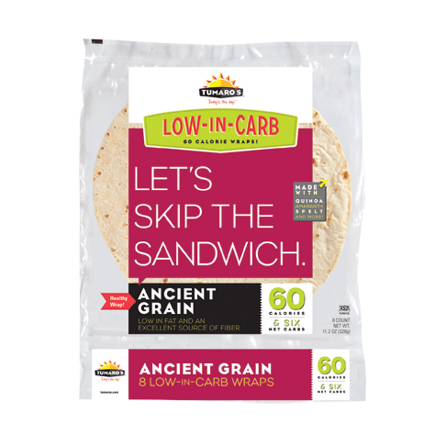 Tumaros 1238260 Low-In-Carb Wraps - Ancient Grain- 8 Count - Pack of 6