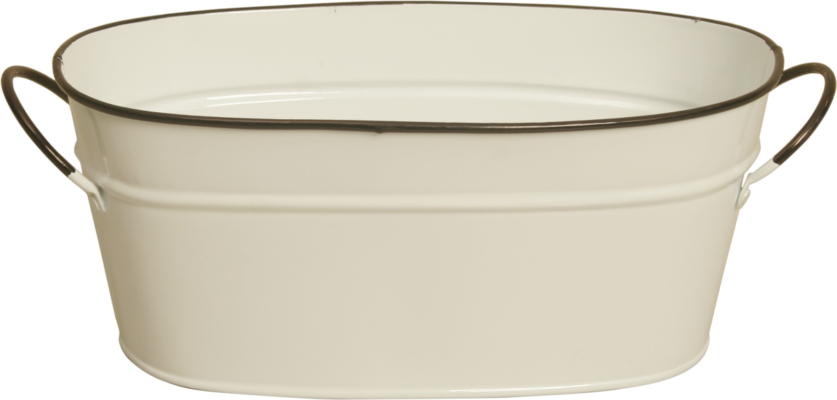 Wald Imports 8682-D4 4 in. Pearl White Metal Planter Double Pack of 2
