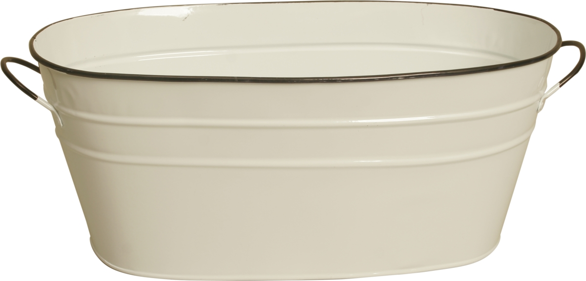 Wald Imports 8682-D6 6 in. Pearl White Metal Planter Double