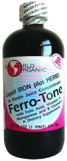 World Organic 213373 16 oz Ferro-Tone Iron & Herbs