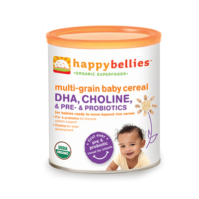 0481416 Nurture Inc. Happy Bellies DHA Pre & Probiotics plus Choline Organic Multi-Grain Cereal 7 oz - 198 g - Case of 6 - 7 oz