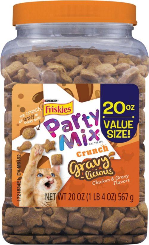 050495 20 oz Friskies Party Mix Gravylicious Chicken & Gravy Flavors Cat Treats - Case of 3