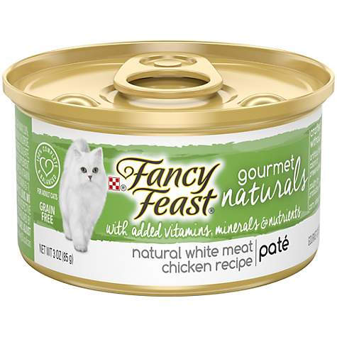 050820 3 oz Fancy Feast Gourmet Naturals Grain Free Pate White Meat Chicken Recipe Adult Wet Cat Food - Pack of 12