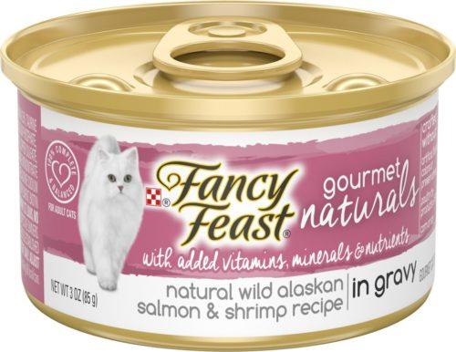 050821 3 oz Fancy Feast Gourmet Naturals Grain Free Pate Wild Alaskan Salmon Recipe Adult Wet Cat Food - Pack of 12