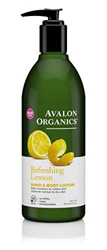 0725684 Bausch & Lomb Avalon Organics Hand & Body Lotion, Refreshing Lemon, 12 oz