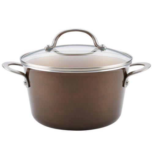 10760 Porcelain Enamel Nonstick Covered Saucepot, 4.5 qt. - Brown Sugar