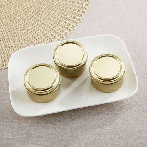 14111NA-DIY Gold Round Candy Tin - DIY, Set of 12