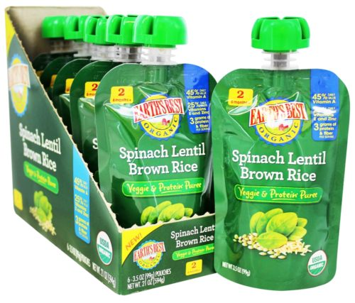 1507441 3.5 oz Organic Spinach Lentil Brown Rice Veggie & Protein Puree - Case of 12