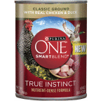 178308 13 oz One SmartBlend Wet Dog Food True Instinct Classic Ground with Real Chicken & Duck, Case of 12