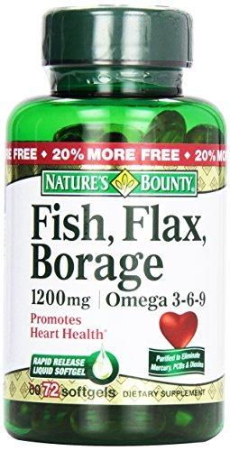 1890875 Natures Bounty Flax Fish Borage, 72 Count