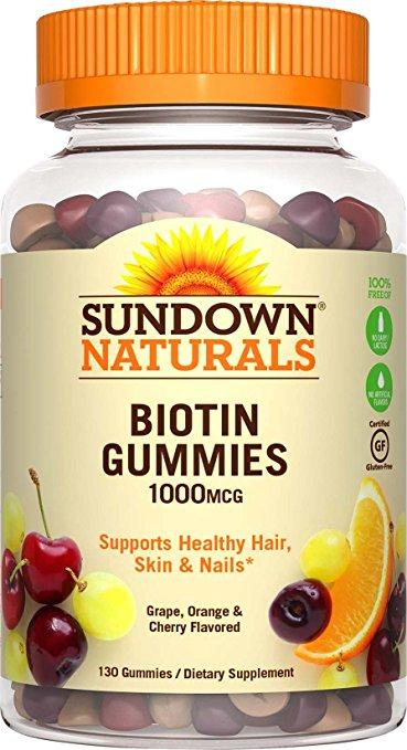 1892657 Sundown Naturals Biotin Gummies Dietary Supplement, 1000 mcg - 130 count