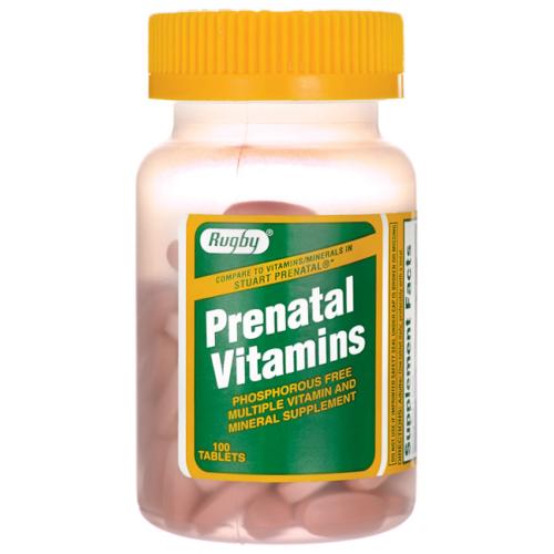 1893831 Rugby Prenatal Vitamins 100 Tablets