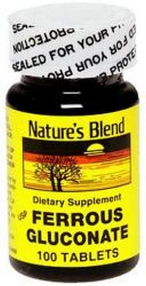 1896334 Natures Blend Ferrous Gluconate Dietary Supplement - 100 Tablets
