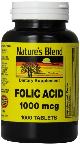 1896377 Natures Blend Folic Acid 1000 mg 1000 Tablets