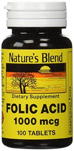 1896393 Natures Blend Folic Acid 1000 mg 100 Tablets