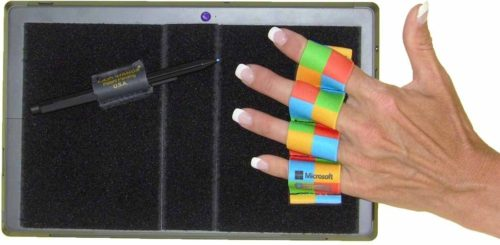 201589 4-Loop Grip Heavy-Duty for Microsoft Surface with Stylus Grip-Microsoft Colors Checkers, Extra Large