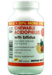 218613 American Health Probiotics Chewable Acidophilus with Bifidus Assorted Natural Fruit Flavors 100 wafers
