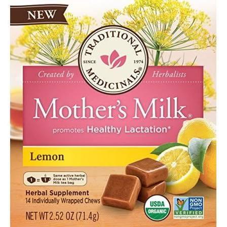 2192375 2.52 oz Chews Organic Mothers Milk - Lemon