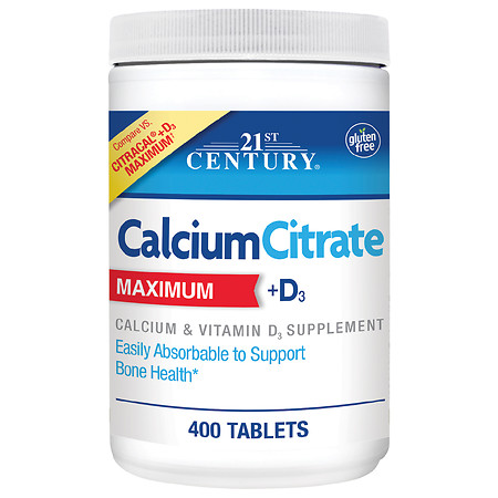 21st Century Calcium Citrate Maximum +D3 Tablets - 400.0 ea