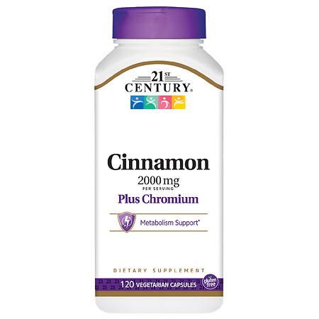 21st Century Cinnamon 2000 mg Plus Chromium Veggie Capsules - 120.0 ea