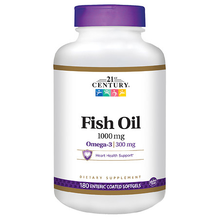 21st Century Enteric Coated Fish Oil 1000mg, Reflux Free - 180.0 ea