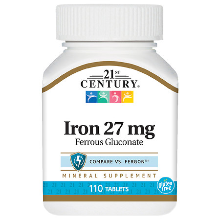 21st Century Iron 27 mg (Ferrous Gluconate) Tablets - 110.0 ea