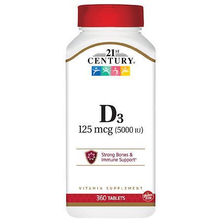 21st Century Vitamin D3 5000 IU Tablets - 360.0 ea